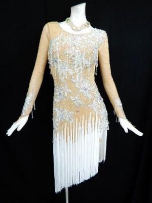 新入荷【La002】社交ダンスドレス 正装ラテン フリンジホワイト M