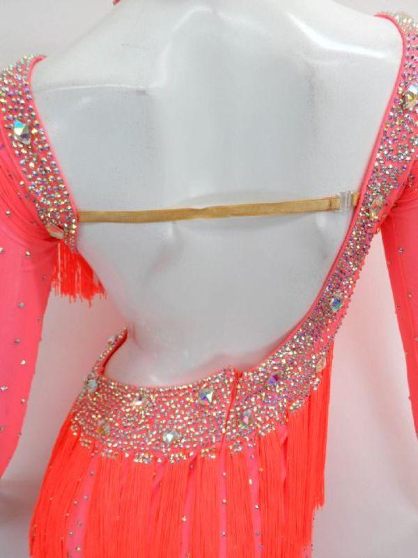 新入荷【La003】社交ダンスドレス 正装ラテン フリンジピンクミニ M