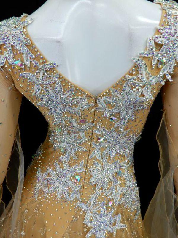 《新入荷》【Md003】社交ダンスドレス正装モダン ベージュゴールド Mサイズ