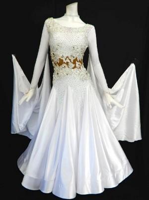 《新入荷》【Md002】社交ダンスドレス正装モダン サテンホワイト Mサイズ