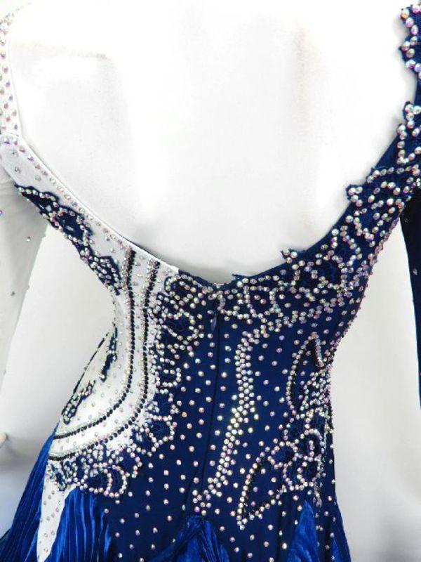 《新入荷》【Md004】社交ダンスドレス正装モダン プリーツネイビー Mサイズ