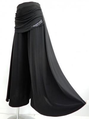 【p494】社交ダンスパンツ ワイドドレープ付 後ろ円型巻き ブラック