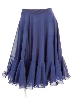 【sk751】ミディアムスカート ネット生地裏地付き 裾フリル ネイビー