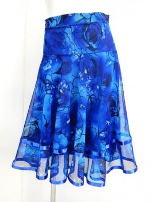 【sk703】社交ダンスミディアムロングスカート 裾テープ 裏付き 花柄 グラデブルー