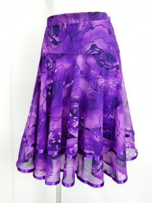 【sk704】社交ダンスミディアムロングスカート 裾テープ 裏付き 花柄 グラデパープル