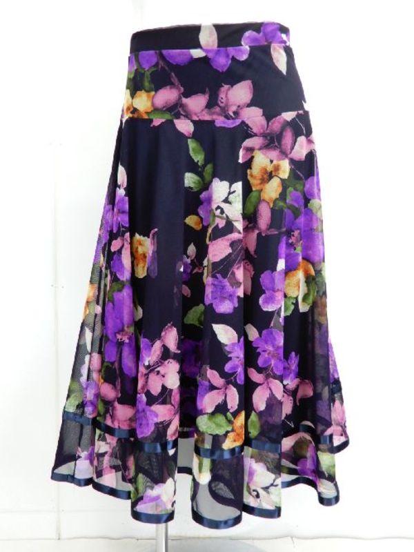 【sk705】社交ダンスロングスカート 裾テープ 裏付き 花柄 パープル