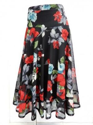 【sk706】社交ダンスロングスカート 裾テープ 裏付き 花柄 レッド