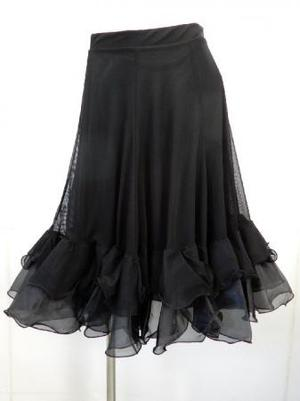 【sk752】社交ダンスミディアムスカート ネット裏地裾オーガン風 ブラック