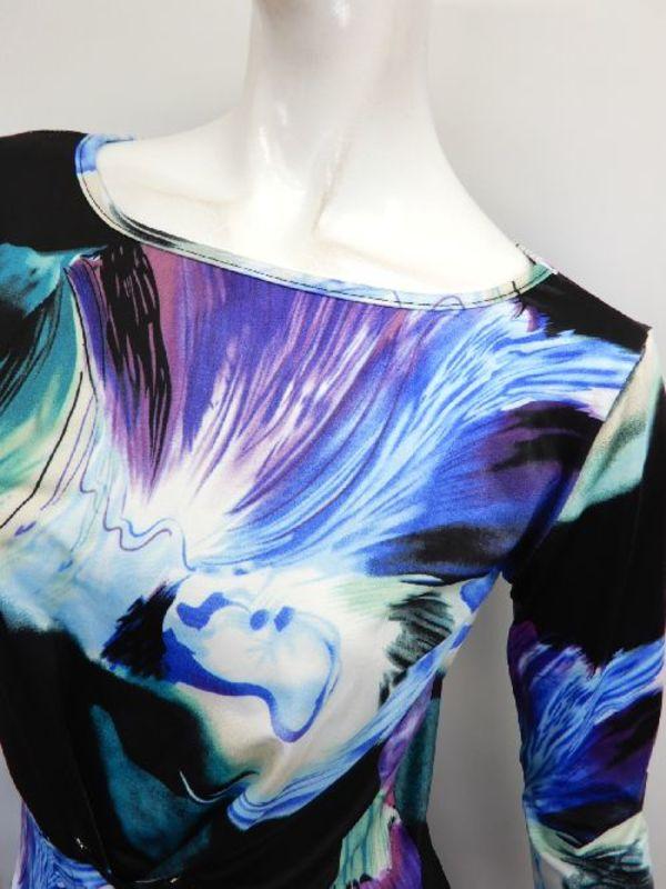 【c339】社交ダンス衣装 デザイン柄 ウエスト部分アミアミ ブルー