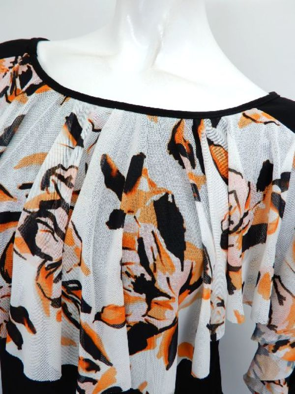 【c340】社交ダンス衣装 襟~袖フリル ブラックオレンジ