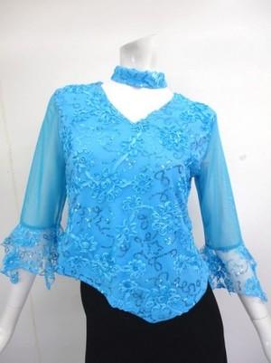 フォーメーションにお薦め【tt206】社交ダンストップス コード刺繍スパン L ブルー