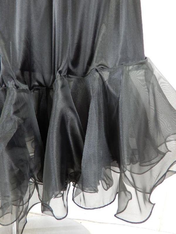 【sk742】社交ダンス ロングペチコート 裾オーガン ブラック