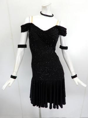 【La015】正装ラテンドレス オフショル ブラックストーン M