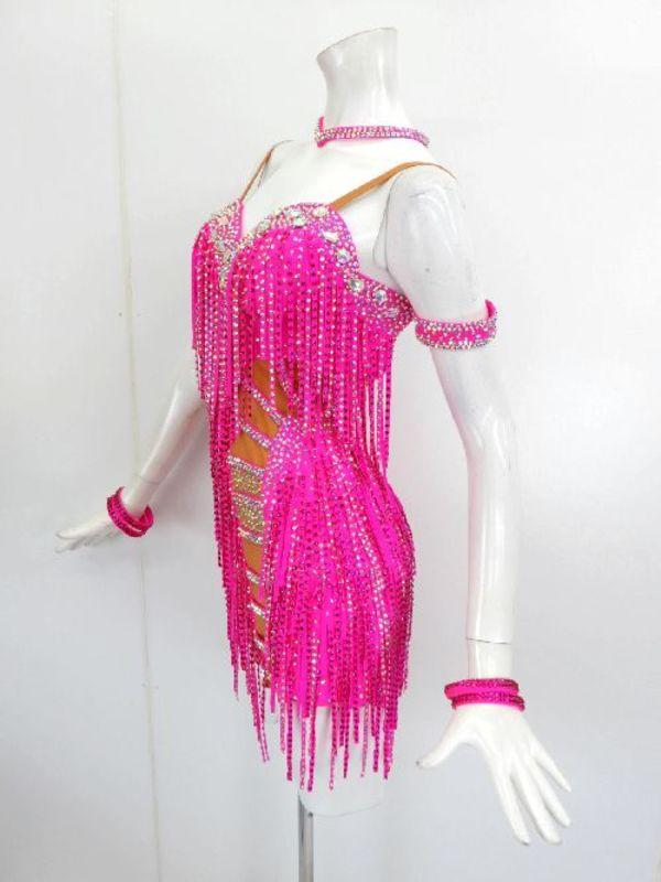 新入荷【La016】社交ダンスドレス 正装ラテン ストーンフリンジ蛍光ピンク M