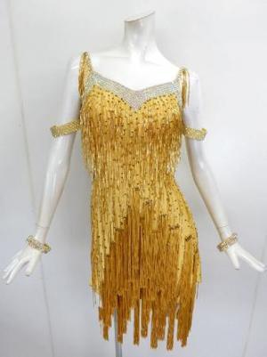 新入荷【La017】社交ダンスドレス 正装ラテン ビーズフリンジ ゴールド M
