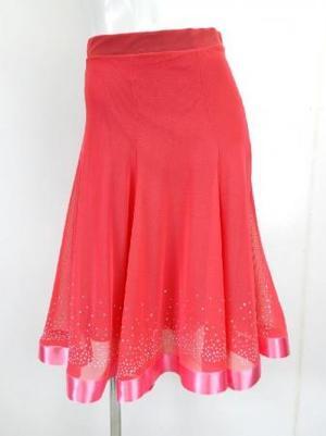【sk708】ミディアムスカート ネット生地裏地付き 裾ストーンテープ付 ピンク
