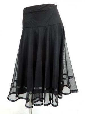 ゆったりめ【sk713】社交ダンスミディアムロングスカート 裾テープ 裏付き ブラック