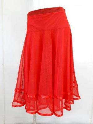 ゆったりめ【sk714】社交ダンスミディアムロングスカート 裾テープ 裏付き レッド