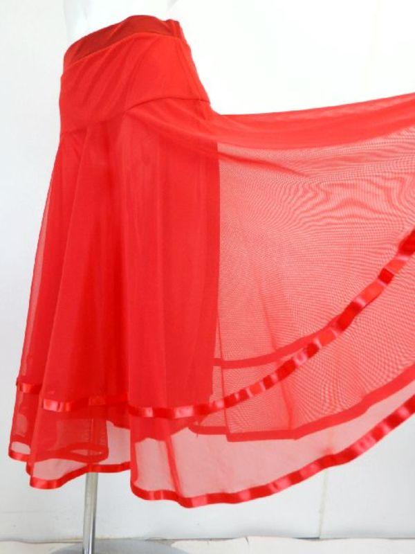 【sk736】社交ダンスミディアムロングスカート 裾テープ 裏付き レッド