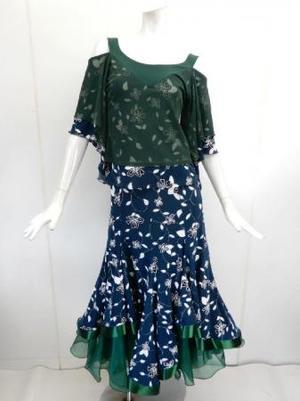 セール品【su428】社交ダンス上下スーツ 花柄オフショル&ボリュームスカート グリーン