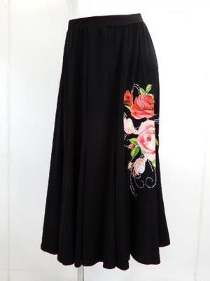【sk707】社交ダンスロングスカート 14枚はぎお花プリント ブラックレッド
