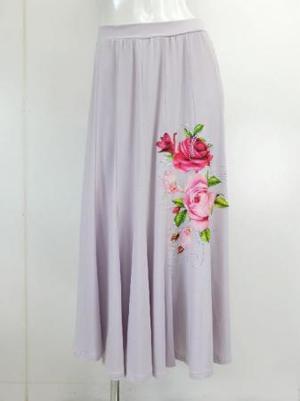 《値下げ》【sk715】社交ダンスロングスカート 14枚はぎお花プリント ラベンダーピンク