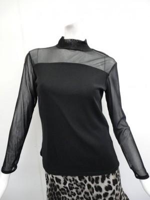 Lサイズ【c302】社交ダンストップス ハイネック長袖 胸下切替 ブラック
