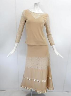 セール品【su429】社交ダンス上下スーツ レース切替&テープ飾りスカート ベージュ