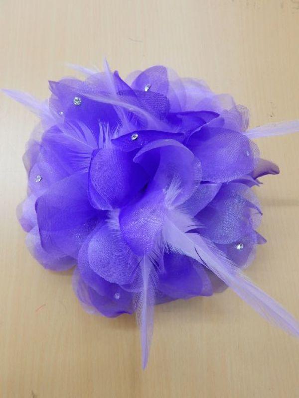 《新入荷》【ac206】コサージュ 立体花×羽ストーン パープル