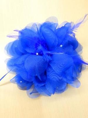 《新入荷》【ac207】コサージュ 立体花×羽ストーン ブルー