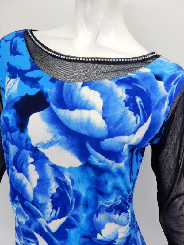 セール品《高品質》【c266】チュニック丈トップス 大花柄 襟周りシースルー ブルー