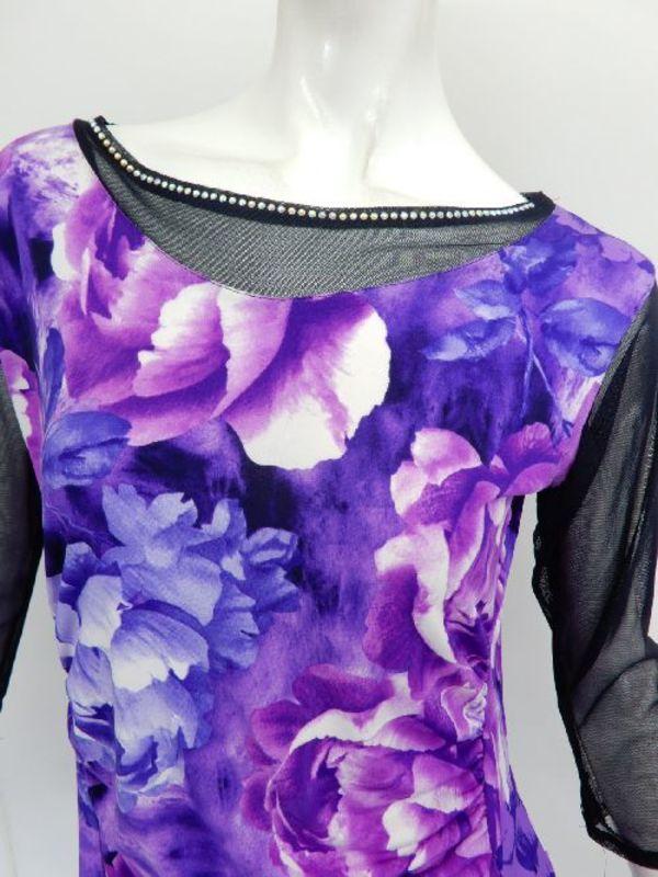 セール品《高品質》【c267】チュニック丈トップス 大花柄 襟周りシースルー パープル