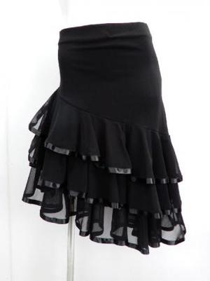 【sk754】ミディアムスカート 斜め段々フリルテープ  ブラック