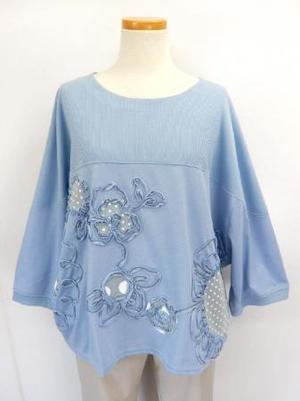 《韓国製》【f005】綿混チュニック ひまわりコード刺繍 ドルマン風 ブルー L~LL