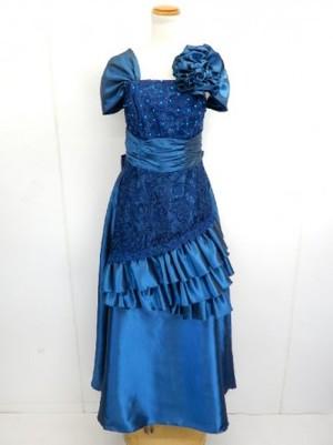 カラオケ発表会【k-116】ロング丈ドレス 刺繍サテン ブルグリ Lサイズ