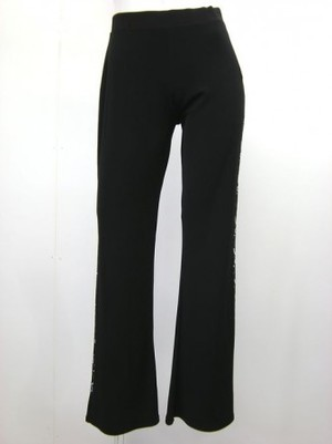 【p458】社交ダンスパンツ ストレート系 サイドストーン飾り ブラック