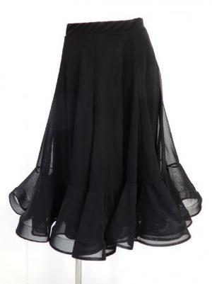 【sk756】社交ダンスミディアムスカート ネット裏地裾オーガン風 ブラック