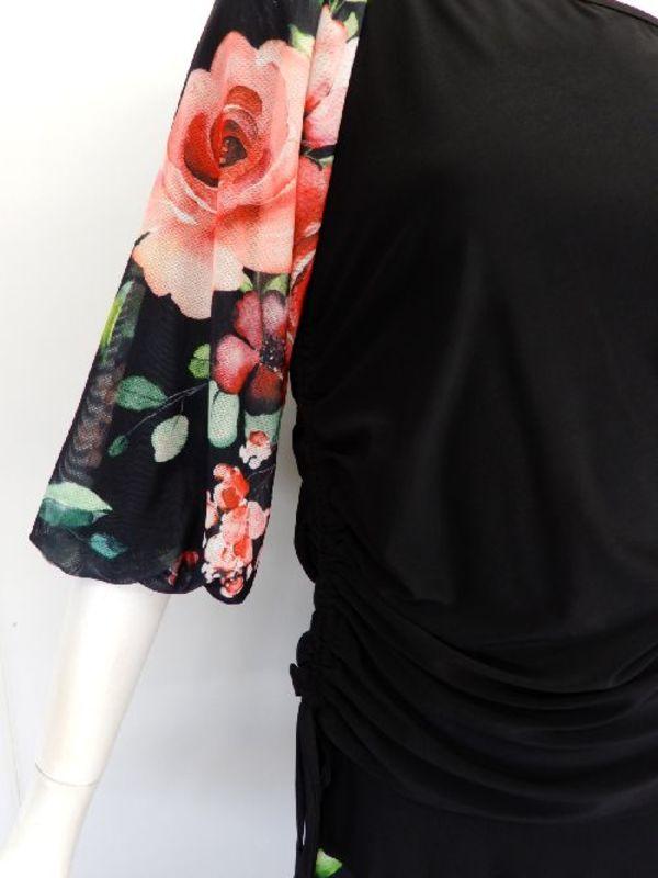 【c346】社交ダンストップス バルーン袖 右裾絞りヒモ レッド花