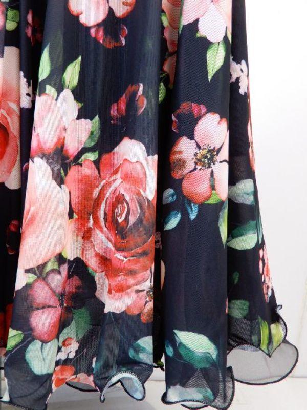 ☆新入荷商品☆【sk757】ロングスカート 柄切替 ブラックレッド花