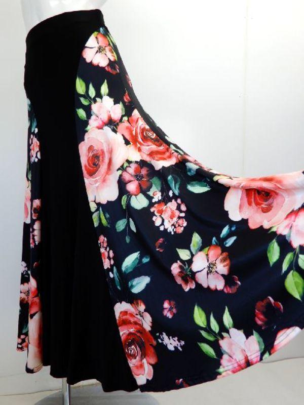 ☆新入荷商品☆【sk758】ロングスカート シンプル型柄切替 ブラックレッド花