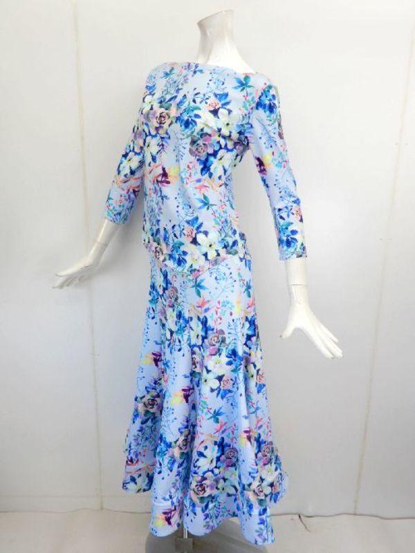 【su461】社交ダンス上下スーツ ボートネック&裾広ロングスカート ブルー