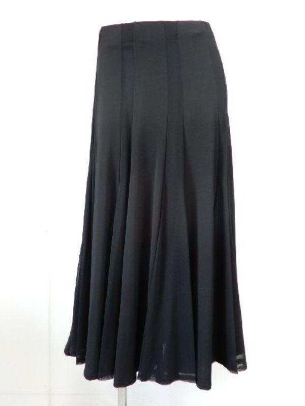 特価!《高品質》【sk717】社交ダンスロングスカート 立て切替 ネット生地交互切替 ブラック
