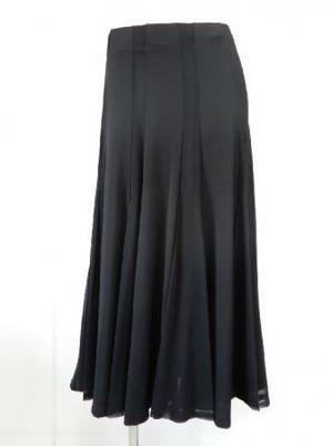 特価!《高品質》【sk710】社交ダンスロングスカート 立て切替 ネット生地交互切替 ブラック