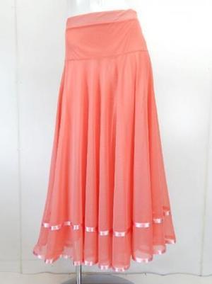 特価!【sk712】社交ダンスロングスカート 裾テープ 裏付き サーモンピンク