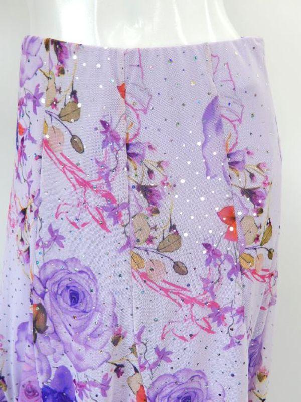 セール品【su431】社交ダンス上下スーツ 花柄Vネック&ボリュームスカート ラベンダー