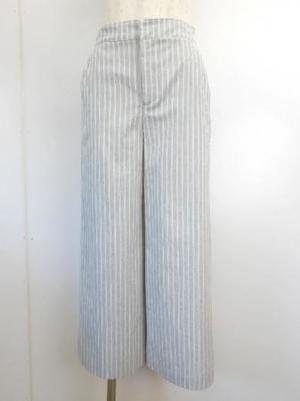 日本製【f066】夏物☆お洒落ワイドパンツ 綿60% 9号 グレーストライプ