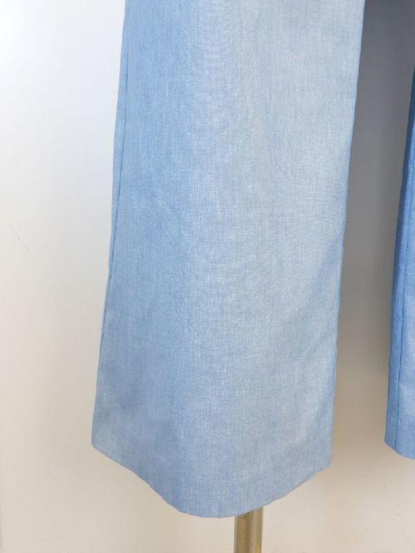 日本製【f065】夏物☆お洒落ワイドパンツ 綿44% 13号 ブルー