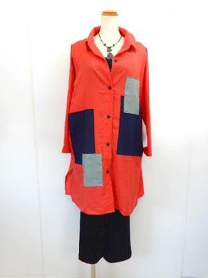《韓国製》【f014】長袖 麻100% ロングブラウス オレンジ L~LL