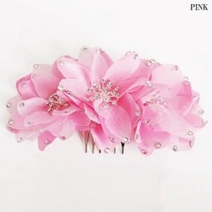 ★人気★【ac064】コサージュ ヘアーアクセサリー 3連お花 ピンク