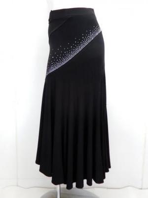 《高品質》【sk722】社交ダンスロングスカート 斜めマーメイド ブラック